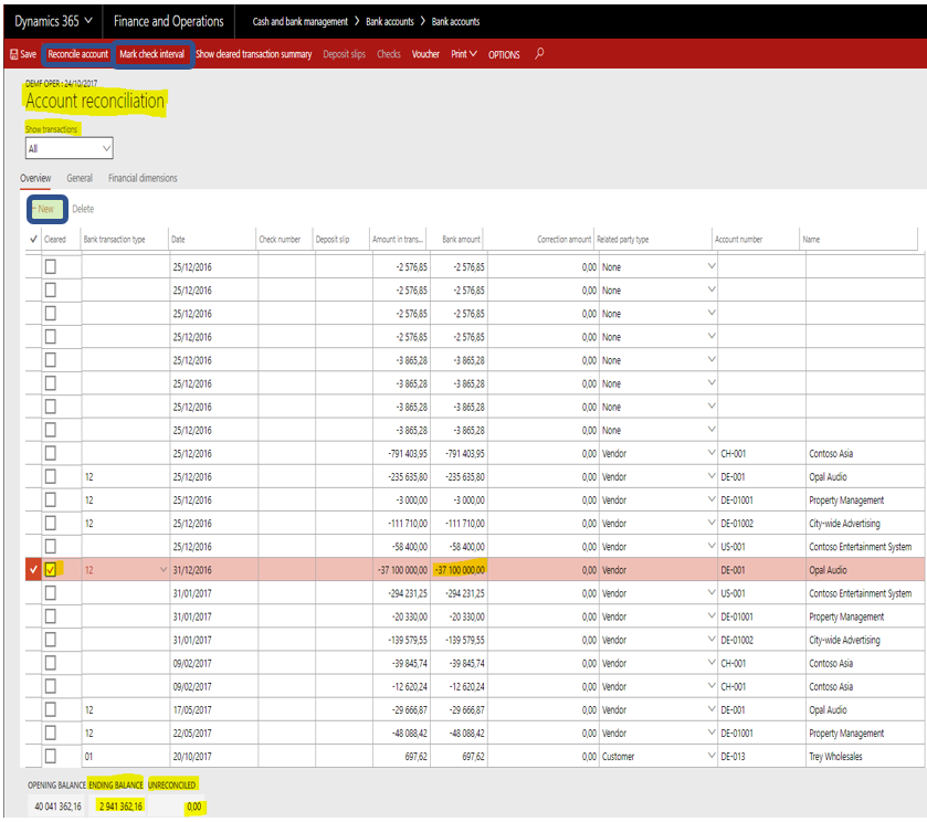 bank reconciliation in dynamics 365 for finance operations
