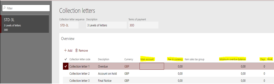 Collection letters in dynamics 365 for finance operations fees a fixed amount can be automatically charged to the customer balance when sending a collection letter then the amount and currency has to be filled in altavistaventures Choice Image